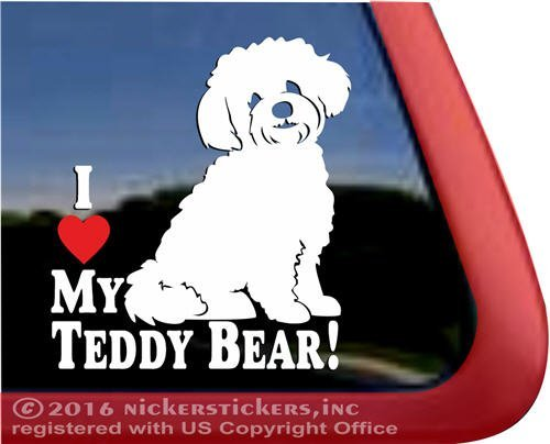 NickerStickers I Love My Teddy Bear! | Zuchon Shishon Bichon Shih Tzu Mixed Breed Vinyl Dog Window Decal