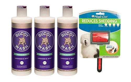 Cloud Star Buddy Wash Dog Shampoo and Conditioner (3) 16 oz Bottles Plus 1 Dog Brush ()