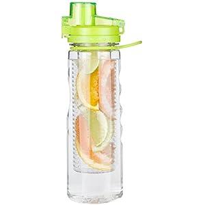 Water Infuser Bottle Leak Proof Flip-top Sport Water Bottle BPA-Free Tritan 25 Oz (Green)