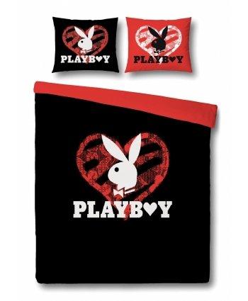 Playboy Bettwäsche Glitter Heart Schwarzrot 155x220 80x80 Cm