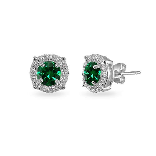 Sterling Silver Simulated Emerald & White Topaz 5mm Round Halo Stud Earrings for Women Girls ()