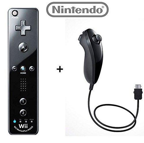 Official Nintendo Wii/Wii U Remote Plus Controller and Nunchuk Nunchuck Combo Bundle Set [Black] (Bulk Packaging) (Renewed) ()