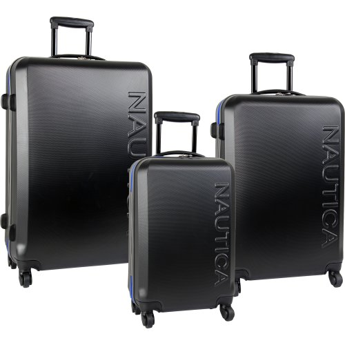 Nautica Luggage Ahoy 3 Piece Hard Side Spinner Set, Black/Blue, One Size, Bags Central