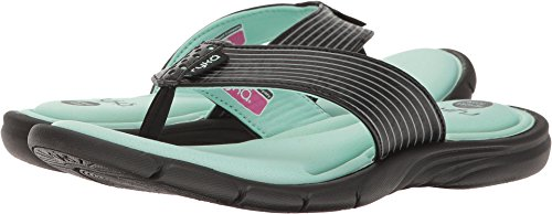 Ryka Women's Refresh Thong Sandal,Black/Yucca Mint/Metallic Steel Grey,US 10 (Athletic Thong Sandals)