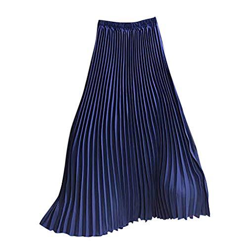 High Waist Dress for Women,nikunLONG Solid Pleated Elegant Midi Dress Elastic Causal Maxi Skirt Blue ()