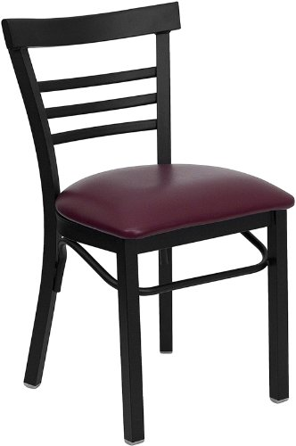 Flash Furniture HERCULES Series Black Ladder Back Metal Restaurant Chair - Burgundy Vinyl Seat (Wood Ships Ladder)