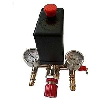 Válvula de control del interruptor de presión del compresor de aire ajustable 90-120PSI Set 002 (Color: negro y oro): Amazon.es: Coche y moto