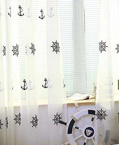 Aside Bside Rudder Embroidered Sheer Curtains Rod Pocket Top Cruise Style Transparent Window Decoration Houseroom Kitchen Sitting Room (1 Panel, W 50 x L 63 inch, White) by Aside Bside