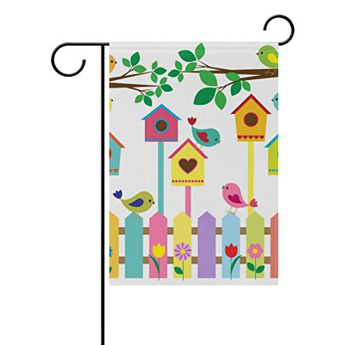 (WIHVE Polyester Garden Flag, Birds Fence Birdhouses Double Sided Holiday Flag for Party Home Outdoor Decoration 28x 40 Inches)