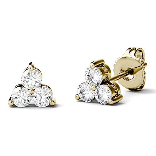 Forever One 2.0mm Round 14K Yellow Gold Moissanite Trio Stud Earrings by Charles & ()