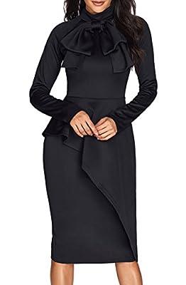 CICIDES Womens Tie Neck Peplum Waist Long Sleeve Bodycon Business Dress Black Large