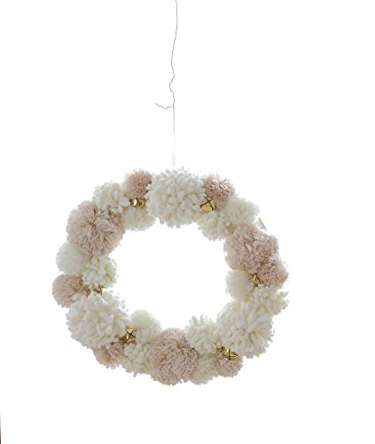 Heart of America Polyester Pom Pom Wreath With Jingle Bells - 2 Pieces