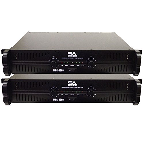 - Seismic Audio - MBG-4000Pair - Pair of Power Amplifiers - 2 x 500 Watts at 8 Ohms - 2 x 1000 Watts at 4 ohms - Amp