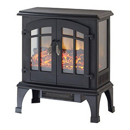 Infrared Electric Stove with Panoramic 3-sided Fire and Ember Bed View, Matte Black by Hampton Bay