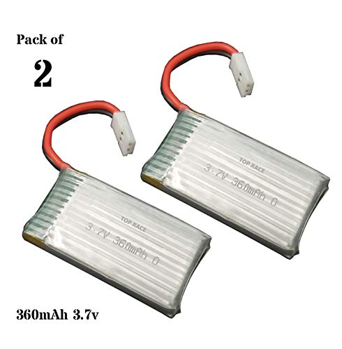 Top Race Spare Replacement Batteries 3.7v 360mAh for TR-C385 4 Channel Rc Airplane Pack of 2
