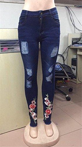 Lav Bodycon Pantalon Bleu Brod Distressed Denim Jeans Skinny Pantalon Femmes Dcontract Dtruit Dchir qwFEnqXA