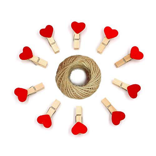 Red Heart Photo - Wooden Clips,100PCS Mini Heart Shape Clothespins,Natural Wooden Photo Clips,Red Mini Craft Clips with 30M Jute Twine (Red 100PCS 3.5 x 0.6 cm)