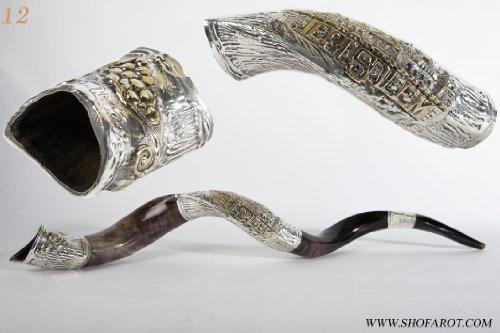Medium Jerusalem - A Bunch of Grapes Shofarot Israel Amazing Silver-plated Yemenite Kudu Shofar + Free Bag Sa-12