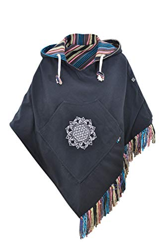 virblatt - Ponchos for Women Poncho Sweater Baja Mexican Womens Jerga Blue Cotton Relaxed - Relaxed bl