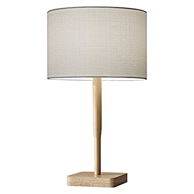 Adesso 4092-12 Ellis Table Lamp - Dimensions: 12W x 21H in. Shade dimensions: 8 diam. x 12H in. Base made of rubber wood - lamps, bedroom-decor, bedroom - 41 8EqOLfGL. SS400  -