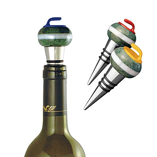 Curling Rock Wine Bottle Stopper: Blue