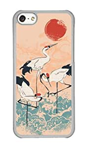 Apple Iphone 5C Case,WENJORS Uncommon Cranes Hard Case Protective Shell Cell Phone Cover For Apple Iphone 5C - PC Transparent
