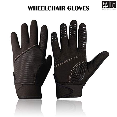 Rebo Wheelchair Disability Mobility Full Finger Gloves Breathable and Non-Slip Material for Good Grip Lightweight Adjustable Strap for Men and Women (Large) from rebz