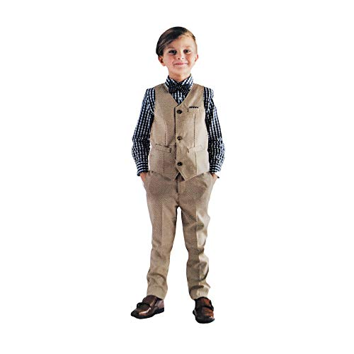 Andy & Evan Boys Formal 4-Piece Suit with Vest, Tie, Shirt and Pants (Tan, 6)