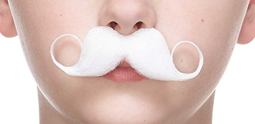 Mustaches Self Adhesive, Novelty, Small Detective Fake, White Color ()