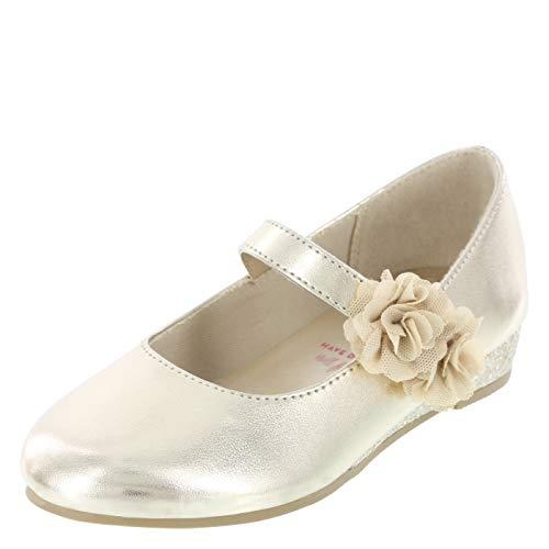 Disney Princess Gold Girls' Toddler Flower Wedge Dress Shoe 9.5 Regular -