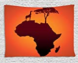 """Ambesonne African Tapestry, Safari Map with Continent Giraffe and Tree Silhouette Savannah Wild Design, Wide Wall Hanging for Bedroom Living Room Dorm, 80"""" X 60"""", Orange Brown"""