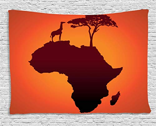 Ambesonne African Tapestry, Safari Map with Continent Giraffe and Tree Silhouette Savannah Wild Design, Wall Hanging for Bedroom Living Room Dorm, 60 W X 40 L Inches, Orange Brown