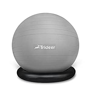 Ball Chair 65cm Flexible Seating Exercise Ball with Stability Ring & Pump, Great for Improving Balance & Core Strength (Office & Home & Classroom) from Trideer