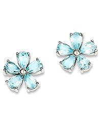 IceCarats 925 Sterling Silver Flower Blue Topaz Post Stud Earrings Gardening