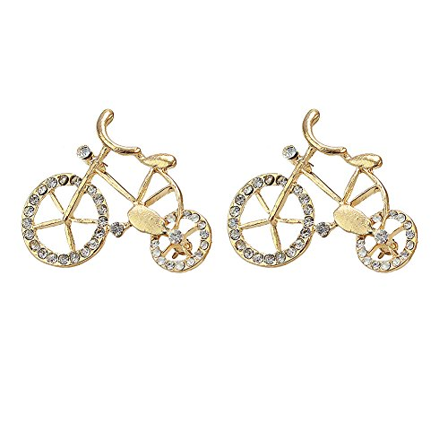 2 Pcs Sweet unique fashionable Women Girls Rhinestone Cystal Bike Bicycle Shape Brooch Pin Jewelry (Bike Brooch Pin)