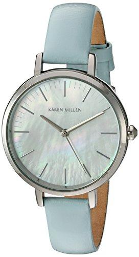 Karen Millen Women's Quartz Brass-Plated-Stainless-Steel and Leather Dress Watch, Color:Blue (Model: - Karen Millen Shop