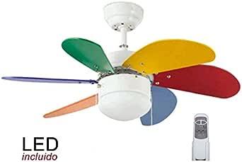Pack Ventilador juvenil de LED y Mando a distancia multicolores vivos.: Amazon.es: Iluminación