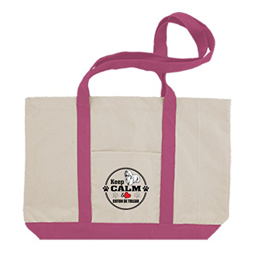- Cotton Canvas Boat Tote Bag Keep Calm Love Coton De Tulear Dog Style In Print Hot Pink