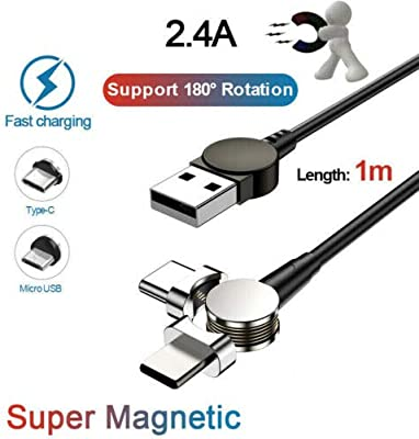 LanLan 2.4A 180 ° Cable magnético LED Tipo C Cable de Cargador ...