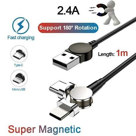 LanLan 2.4A 180 ° Cable magnético LED Tipo C Cable de ...
