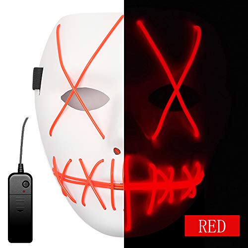 Ansee Scary Mask Halloween Cosplay Led Costume Mask El Wire Light Up Mask for Festival Parties (Red)