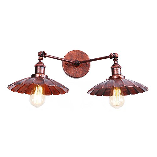 Mengzhu-Michelle 2 Head Wall Light Wrought Iron Indoor Wall Sconce Vintage Industrial Retro Wall Wash Lmp for Bedroom Living Room Balcony Bar Cafe Coffee E27 Red,A