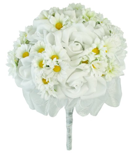 Daisy Rose Wedding Bouquet - Daisy Rose Silk Hand Tie - Silk Wedding Bridal Bouquet