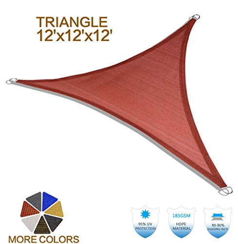 HENG FENG 12'x12'x12' Terra Triangle Sun Shade Sail UV Block for Patio Deck Yard and Outdoor