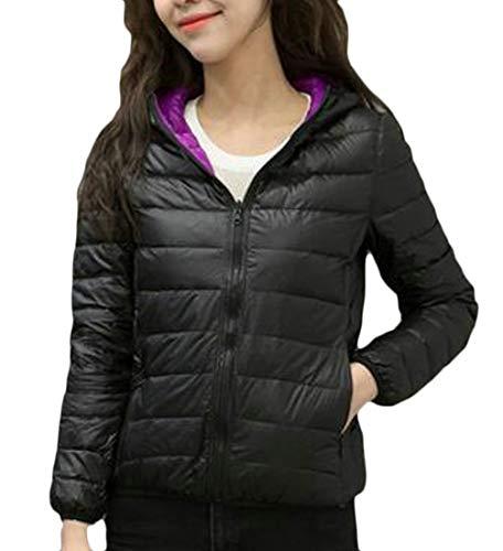 Women MU2M Up Lightweight Black Slim Puffer Hooded Packable Jacket Down Zip Short qq4rdT
