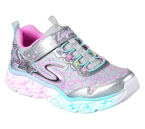 (Skechers Girls' Galaxy Lights Sneaker,silver/multi,4 Medium US Big)