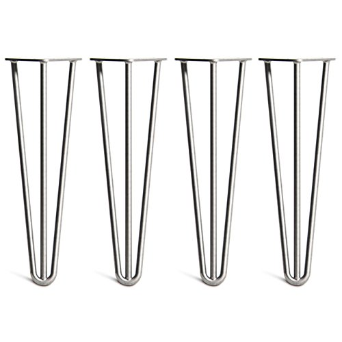 (4 x Heavy Duty Hairpin Table Legs - Superior Double Weld Steel Construction with Free Screws, Build Guide & Protector Feet, Worth $10! - Mid-Century Modern Style - 16