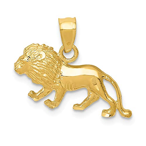 14k Yellow Gold Lion Pendant Charm Necklace Animal Tiger Man Fine Jewelry Gift For Dad Mens For Him
