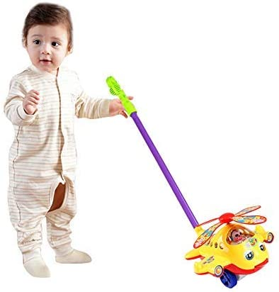 O-Toys Baby Push and Pull Toy Funny Aircraft Push Walker for Kids Toddlers Infants Trolley Early Education Learning Walking Toys Boys Girls 12 Months to 4 Years