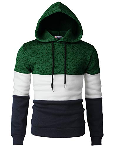 H2H Men Casual Hoodies Turtleneck Long Sleeve Sweatshirts Pullovers with Color Trim Green US M/Asia L (CMOHOL058)
